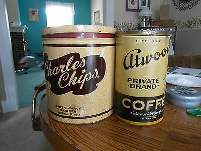 2 vintage cans charles chips and atwood's coffee
