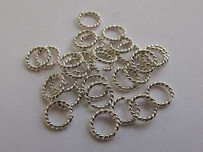Twisted Sterling Silver Open Jump Rings (0.8mm wire, approx. AWG 20). Pack of 10