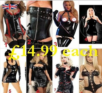 PVC Corset Faux Leather Dress Spandex Vinyl Lingerie Bodysuit Clubwear