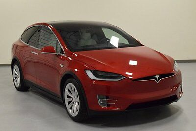 2016 Tesla Model X  2016 Tesla Model X P90D SUV Electric AWD White Interior Red Exterior Auto Pilot