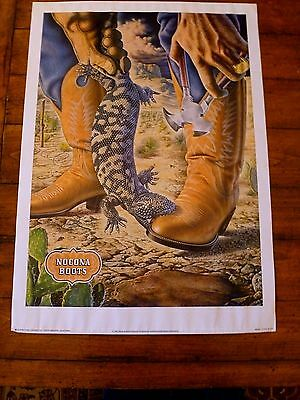 Vtg Nocona Boots Advertising Poster Alex Ebel Cowboy Boots Gila Monster 28x20