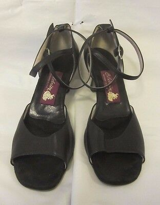 "Ladies Celebrity Ballroom Dance Shoes Black Leather 1 3/4"" Heels US Size 9"