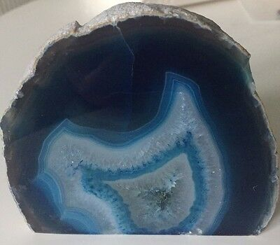 Agate and Quartz Crystal Polished Geode Section