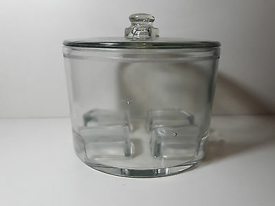 Vintage Antique Glass Cheese Preserver Covered With Lid Display Kitchen 1930s