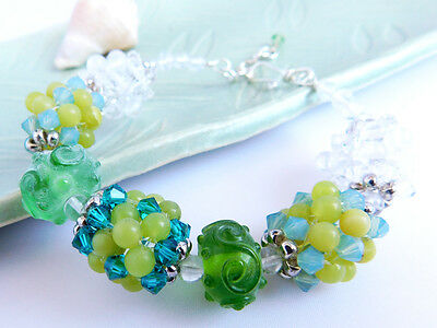 Green & White Swarovski and Jade Bead Lampwork Bracelet [B-D16-007]