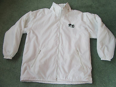 Bowls bowling white fleece lined waterproof jacket with detachable hood XL