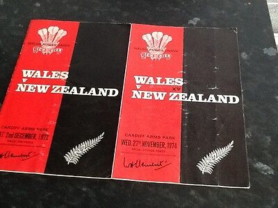 two wales v new zealand rugby union programmes 1972&1974