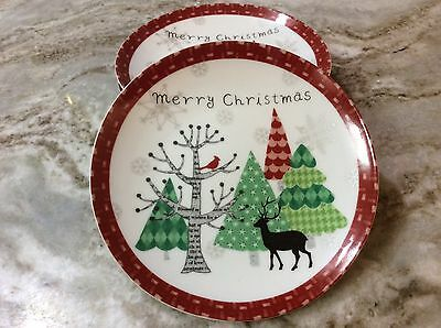 222 Fifth Merry Trees Dessert Plates. Set Of 4. Very Cute. New.