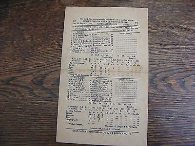 Sussex V Middlesex County Championship Scorecard Played At Hove 1949