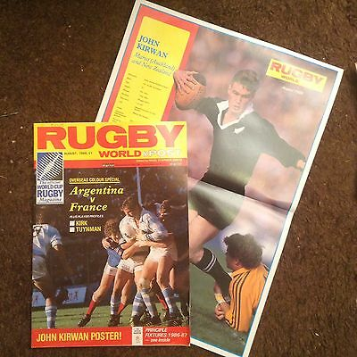 RUGBY WORLD MAGAZINE AUGUST 1986 - Super Condition Also Contains Poster