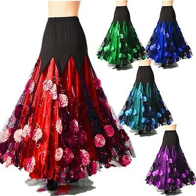 Women Ballroom Skirt Modern Dance Floral Dress Waltz Tango Costume Plus Size New