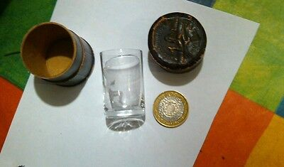 Rare Antique Tiny Drinking Glass  In Leather Case On Lid 3 Legs& On Glass