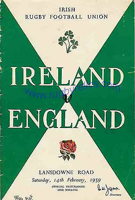 IRELAND v ENGLAND 1959 RUGBY PROGRAMME FIVE NATIONS DUBLIN