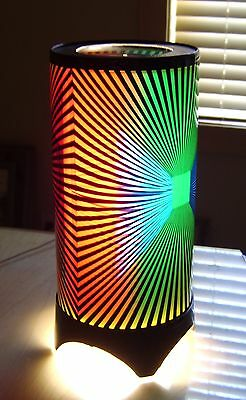'70's Motion Psychedelic Retro Rotating Heat Lamp NOS Zebra Pattern