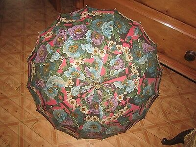 Fabulous Flapper Parasol/Umbrella Floral Fabric