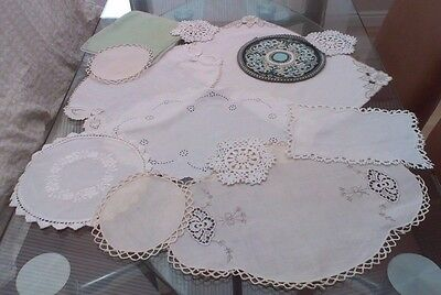 Job Lot Of 12 Vintage Cotton Table Mats, Doilies,tray Cloths ~ Embroidery & Lace