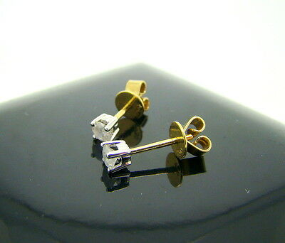 18ct Yellow & White Gold 0.30ct Diamond Solitaire Stud Earrings Boxed