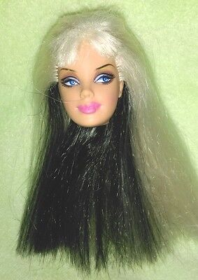 BARBIE DOLL HEAD ONLY - PLATINUM BLONDE & BLACK HAIR (Model Muse)