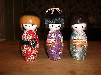 "Japanese Kokeshi Dolls X 3 APPROX 6"" HIGH"