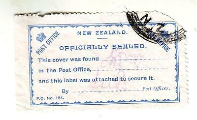 New Zealand - Early P.O. 'Officially Sealed' label