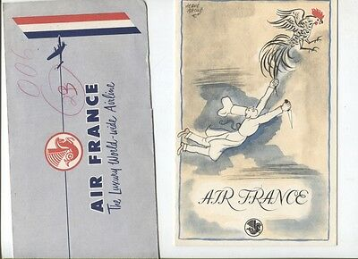 N°5202  /  AIR FRANCE : menu,dépliant....1952-1953