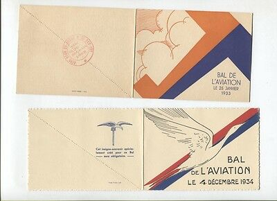 N°5218  / 2 dépliants invitation Bal de l'aviation 1933-1934