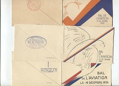 N°5220 /  3 dépliants invitation bal de l'aviation 1932,1933,1934