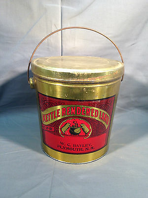 Vintage Metal Lard Tin Can W.C. Bayley Plymouth NH Gold Tone w/ Red Label 8lb?
