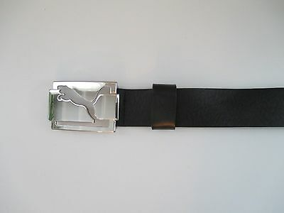 Puma Black Leather Wide Belt with Silver Buckle - Size XL