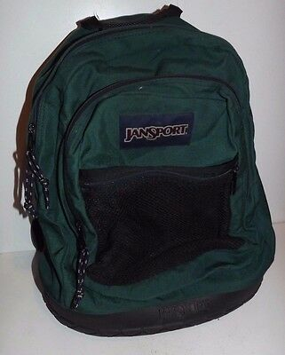 Jansport Green Backpack Bookbag Rubber Bottom Back School Travel Hiking Camping