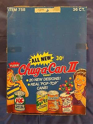 Vintage 1980 Fleer Chug-A-Can II Candy Partial Store Display Box