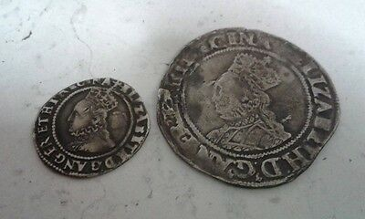 Queen elizabeth 1st shilling and 3 pence