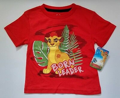 """Disney Toddler Lion Guard """"Born Leader"""" Red T-shirt Short Sleeve Clothes-NWT"""