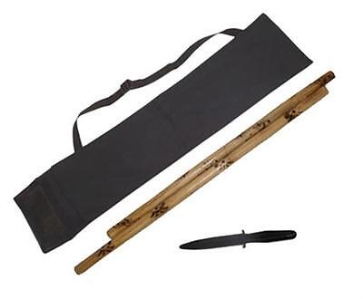 2 Burned Escrima Kali Arnis Fired Rattan Sticks + Weapons Case +Rubber Knife Set