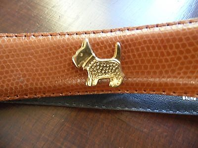 Vintage French Belt.adorned With Metal Dogs.brown.size.m