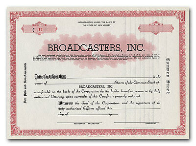 Broadcasters, Inc. Stock Certificate