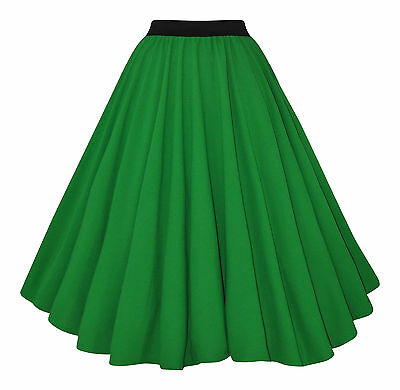 ROCKABILLY 50's GREEN CREPE FULL CIRCLE STRETCH WAIST SWING SKIRT NEW FITS 8-12