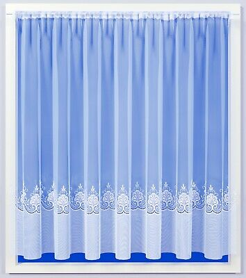 White Embroidered Voile Net Curtain Elizabeth 3770 All Sizes, Free Postage