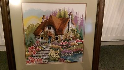 Handmade Cross Stitch Completed Finished Painting Cottage House NOT KIT