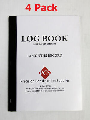 Concrete Pump Logbook Pack of 4