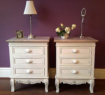 Pair of Cream 3 Drawer Bedside Cabinet Tables French Style Country Cottage Wood