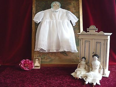 Lovely Antique Fine Muslin Baby Dress Lace Trim&Petti.