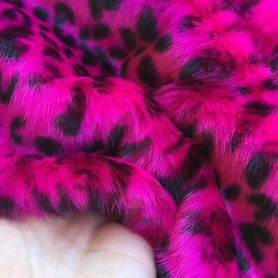 ' Fuchsia Leopard  ' - bright & quirky - faux fur fabric - furaddiction