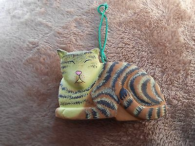Xmas Ornament Resin Cat Hand Painted Yellow/Brown/Black stripes