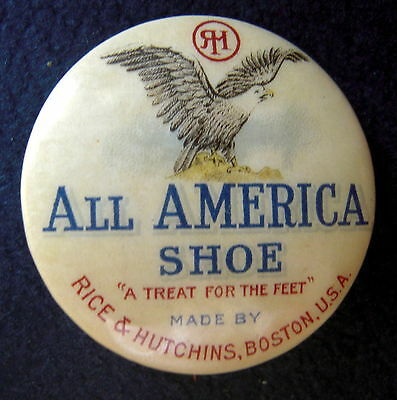 """1 1/4"""" Celluloid Pinback, All American Shoes,  See Sacco & Vanzetti Murder Case"""