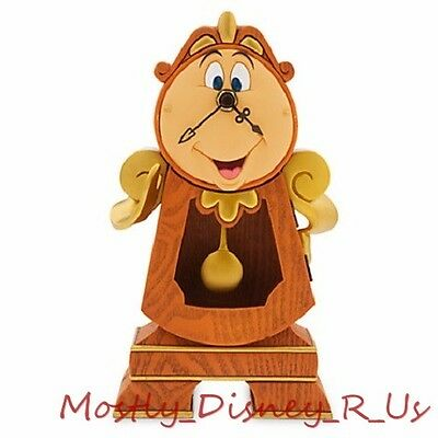 New Exclusive Disney Store Beauty and the Beast Cogsworth Working Clock Real
