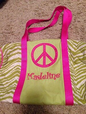 """Green And Pink Personalized """"Madeline"""" Tote Duffel Bag"""
