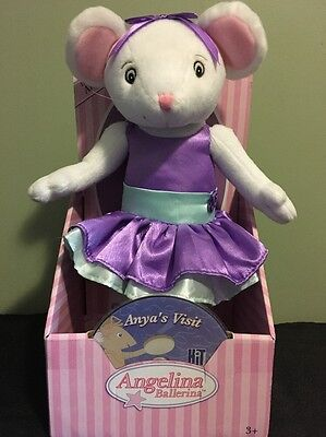 "Angelina Ballerina Posable Plush Doll 13"" W/ DVD NEW Anya's Visit Hard To Find"