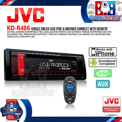 New Jvc Kd-r486 Single-din Cd Usb Aux In Am Fm  Android Car Audio Head Unit