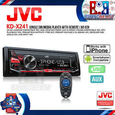 New Jvc Kd-X241 Single-Din Usb Digital Media Receiver Car Audio Headunit Pandora